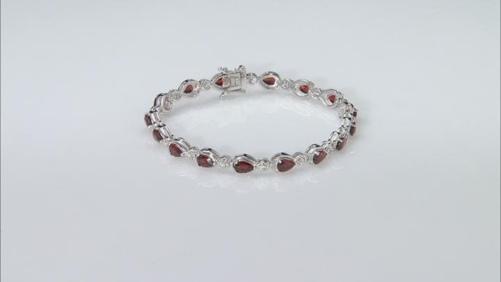 Red Garnet Sterling Silver Bracelet 6.88ctw