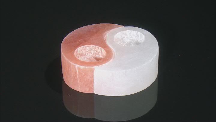 Selenite and Pink Himalayan Salt Yin Yang Tealight Holders
