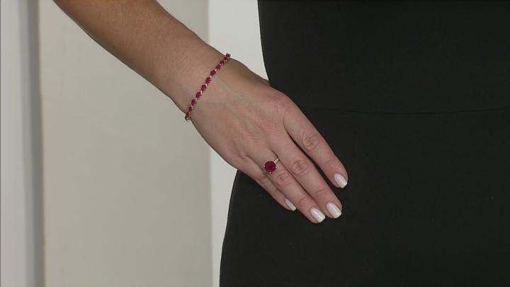 Mahaleo Ruby 10k Yellow Gold Tennis Bracelet 13.33ctw.