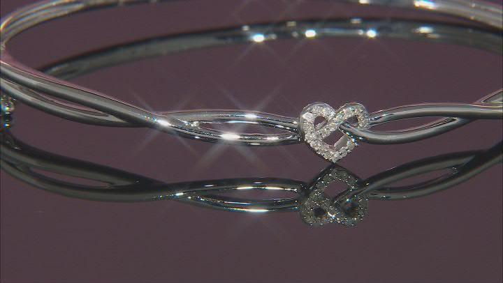 White Diamond Rhodium Over Sterling Silver Love Knot Bangle Bracelet 0.10ctw