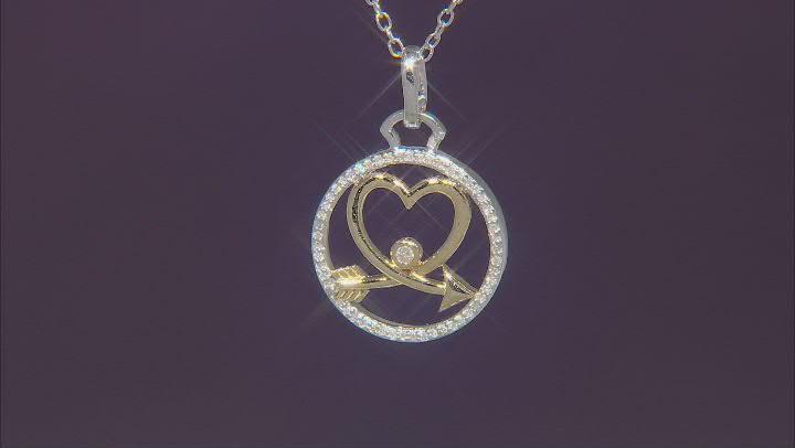 White Diamond Rhodium & 14k Yellow Gold Over Sterling Silver Heart & Arrow Medallion Pendant