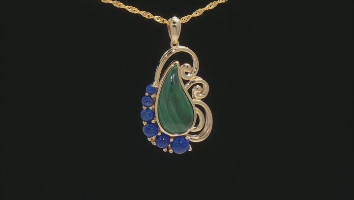 Green Malachite 18k Gold Over Silver Pendant with Chain