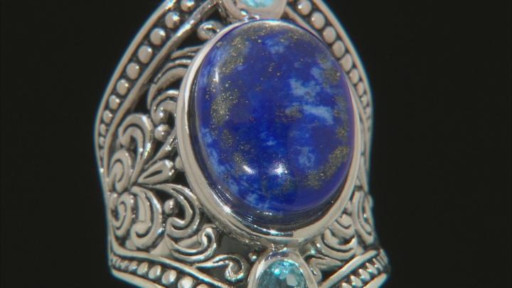 Blue lapis lazuli sterling silver ring .50ctw