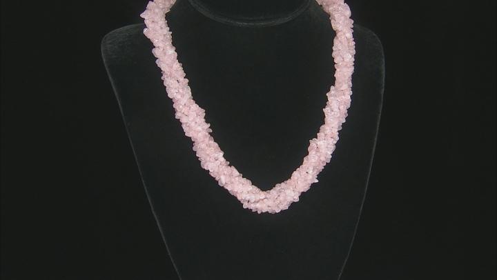 Pink Rose Quartz Rhodium Over Sterling Silver Necklace