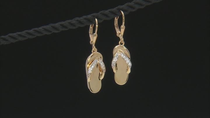 White zircon 18k yellow gold over silver flip flop earrings .18ctw
