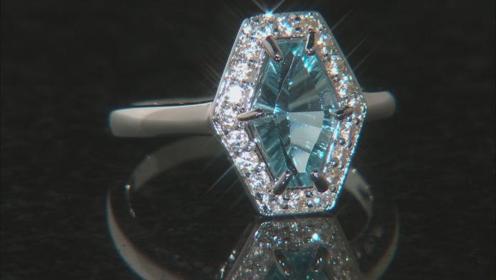 Sky blue topaz rhodium over silver ring 2.26ctw