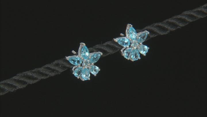 Blue topaz rhodium over silver earrings 2.49ctw