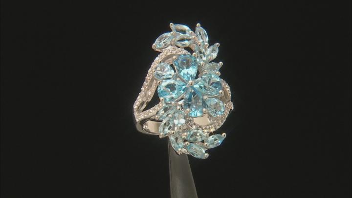 Swiss Blue Topaz Rhodium Over Silver Ring 6.12ctw