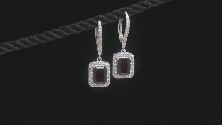 Red garnet rhodium over silver earrings 4.29ctw