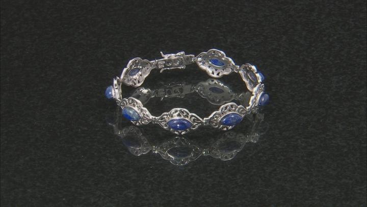 Blue lapis lazuli rhodium over sterling silver bracelet
