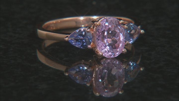 Pink kunzite 18k rose gold over sterling silver ring 2.00ctw