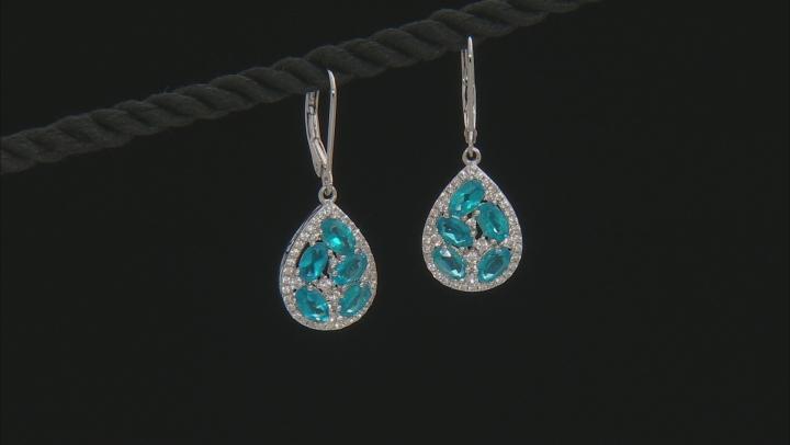Blue neon apatite sterling silver earrings 3.45ctw