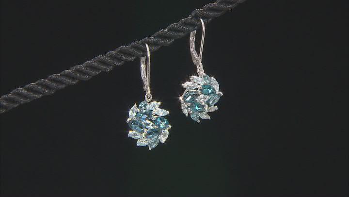 London Blue Topaz Rhodium Over Sterling Silver Earrings 3.64ctw