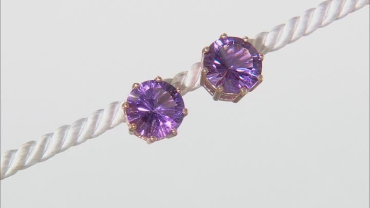 Purple amethyst 18k rose gold over silver earrings 5.10ctw