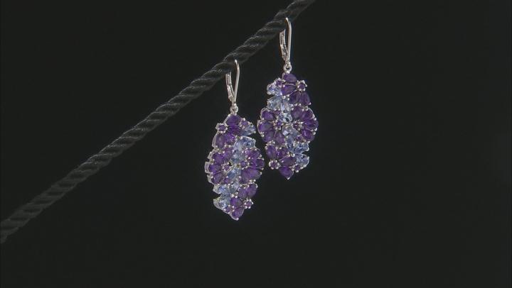 Purple Amethyst Rhodium Over Silver Earrings 8.50ctw