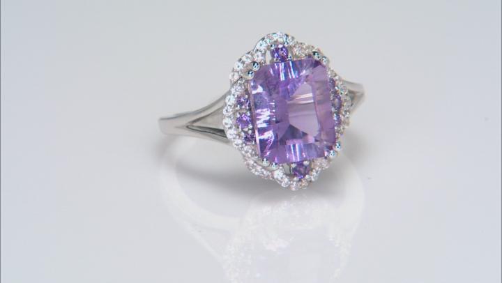Purple amethyst rhodium over silver ring 3.06ctw