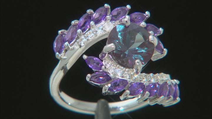 Blue lab created alexandrite rhodium over silver ring 3.22ctw