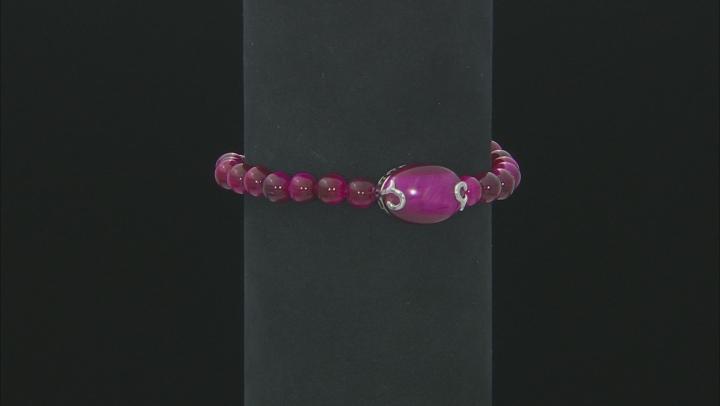 Pink tiger's eye rhodium over silver bracelet
