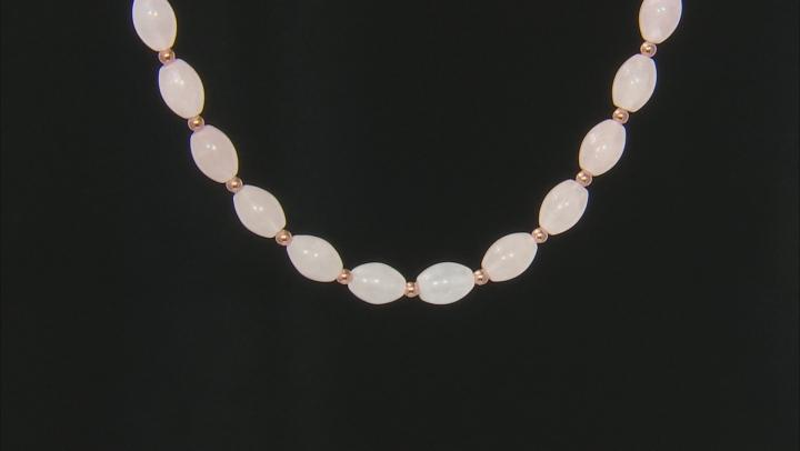 Pink rose quartz 18k rose gold over silver necklace