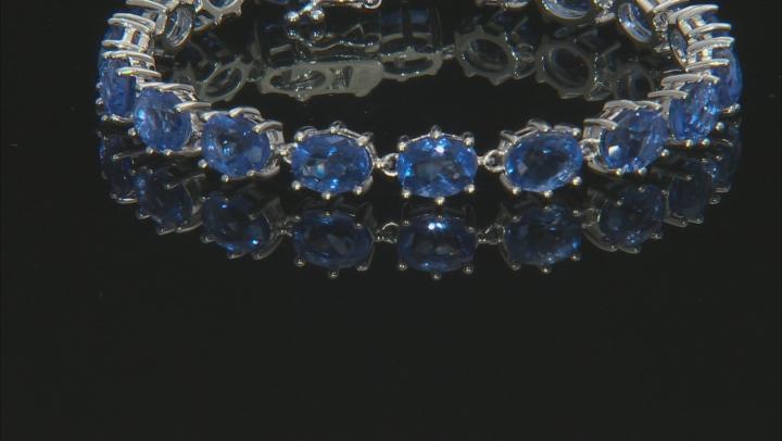 Blue Color change fluorite rhodium over silver bracelet 22.79ctw