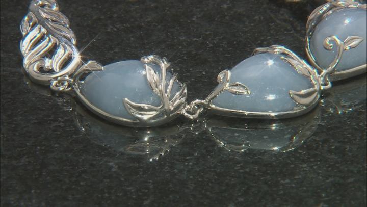 Blue angelite rhodium over sterling silver toggle bracelet