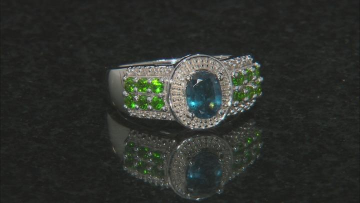Blue chromium kyanite rhodium over silver ring 2.26ctw