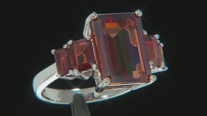 Red labradorite rhodium over silver ring 7.32ctw