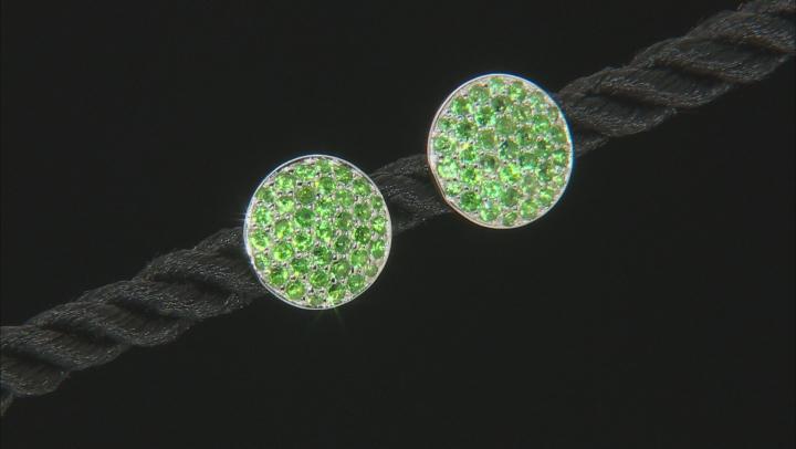 Green tsavorite silver earrings .83ctw