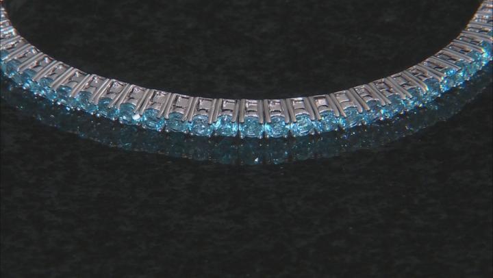 Blue topaz rhodium over silver bracelet 4.40ctw