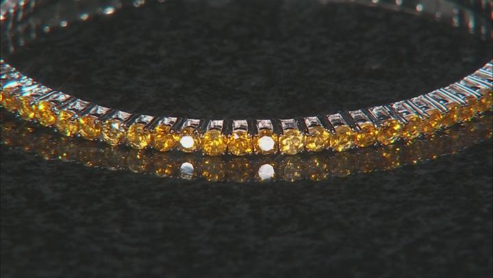 Yellow citrine rhodium over  silver stretch bracelet 3.40ctw