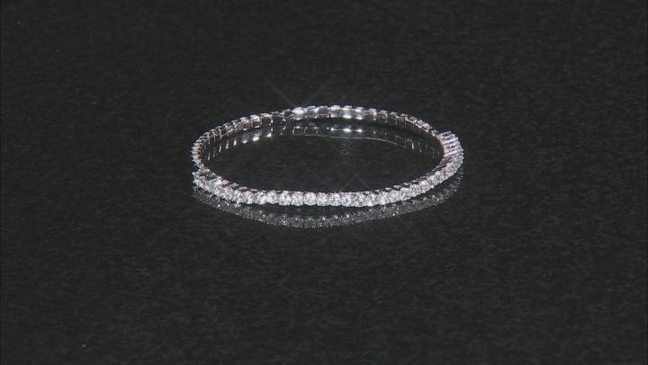 White topaz rhodium over silver stretch bracelet