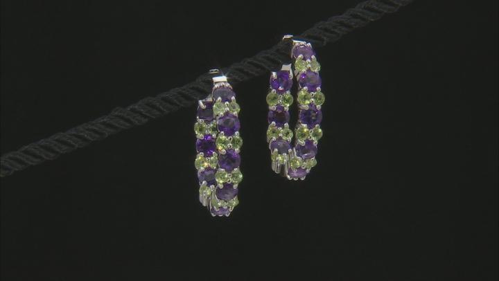 Purple African Amethyst Rhodium Over Silver Earrings 8.84ctw