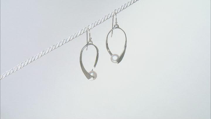 White Cultured Freshwater Pearl Sterling Silver Drop Earrings
