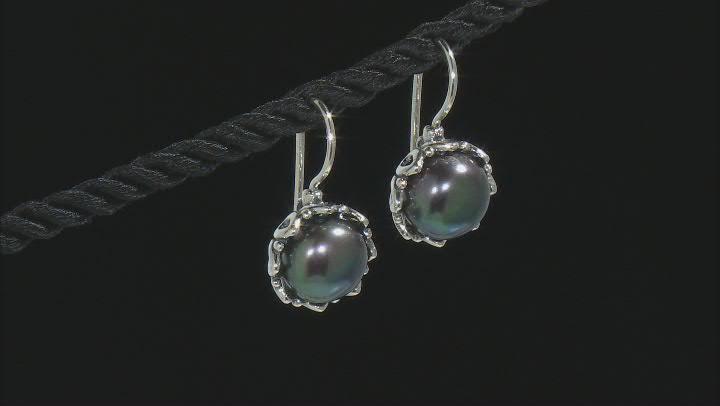 Black Cultured Freshwater Pearl Sterling Silver Earrings