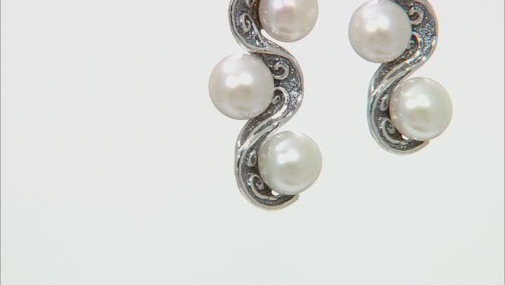 White Cultured Freshwater Pearl Sterling Silver Dangle Earrings