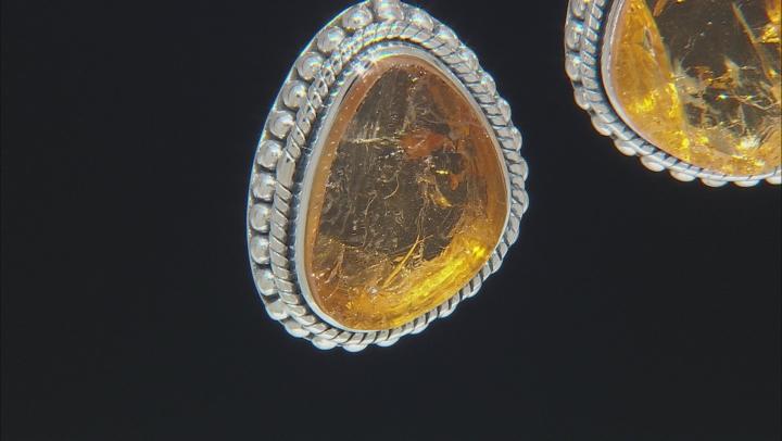 Rough Citrine Sterling Silver Dangle Earrings