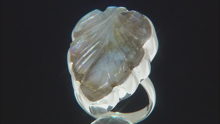 Carved Labradorite Sterling Silver Leaf Ring