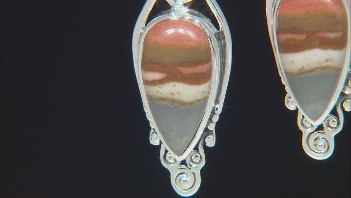 Polychrome Jasper Sterling Silver Dangle Earrings