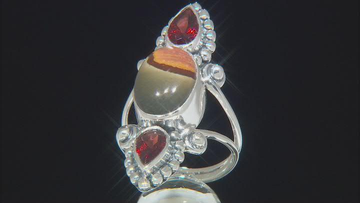 Polychrome Jasper & Garnet Sterling Silver Ring 1.30ctw