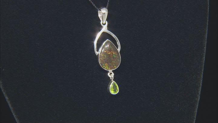 Ammolite & Peridot Sterling Silver Pendant 0.99ct