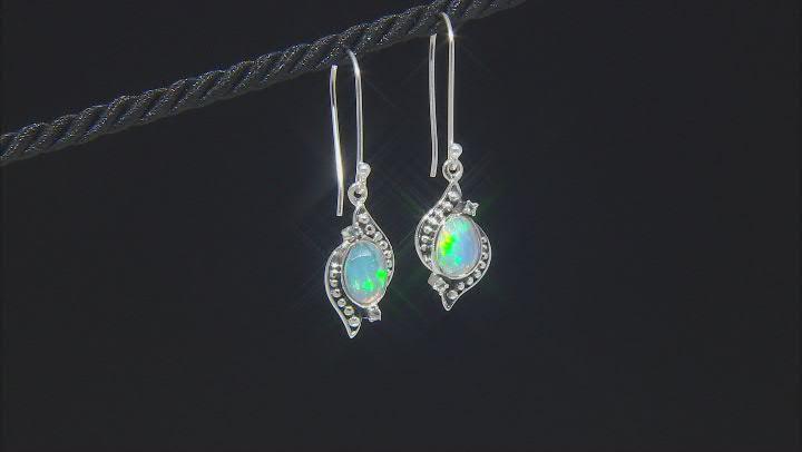 Ethiopian Opal & White Topaz Sterling Silver Earrings 0.85ctw