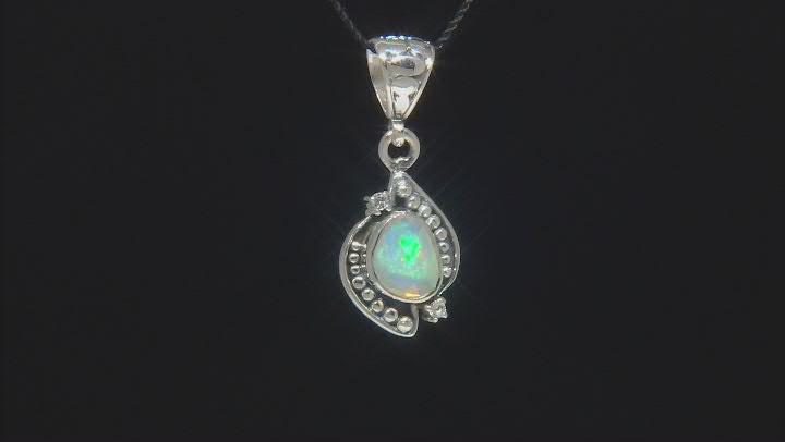 Ethiopian Opal & White Topaz Sterling Silver Pendant 1.10ctw