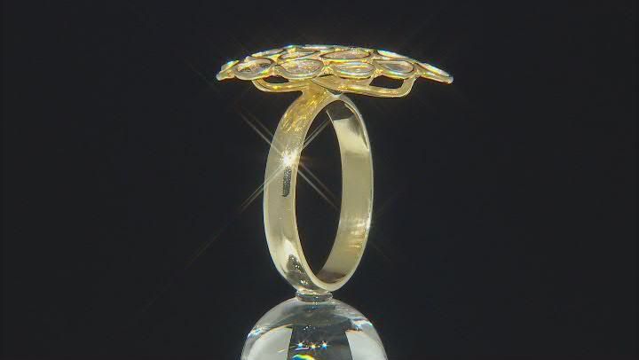 Polki Diamond 18K Yellow Gold Over Silver Ring
