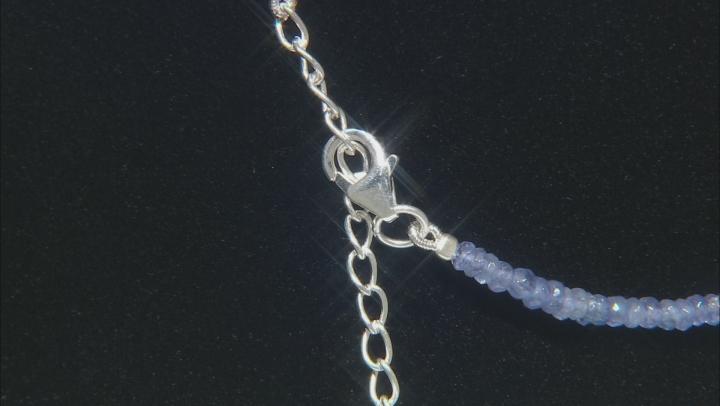 Women Everyday Bead Strand Necklace Purple Blue Tanzanite Sterling Silver