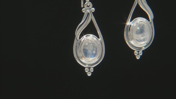 Womens Dangle Earrings Oval Rainbow Moonstone Sterling Silver