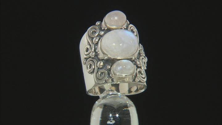 White Moonstone Sterling Silver Ring.