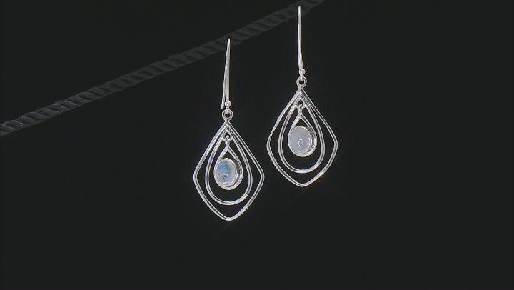 White Rainbow Moonstone Sterling Silver Earrings