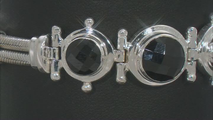Black Spinel Sterling Silver Bracelet 16.98ctw