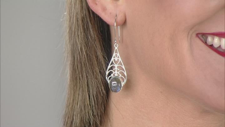 Gray Labradorite Silver Earrings