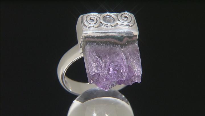 Multicolor Amethyst Stalactite Silver Ring